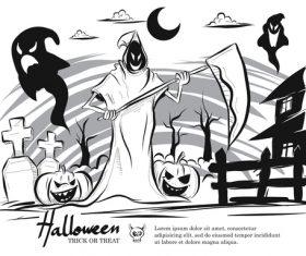 halloween doodle background design vector