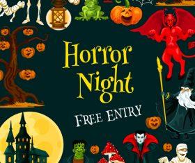 halloween horror night poster design vector 01