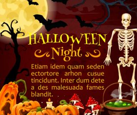 halloween horror night poster design vector 04