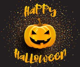 halloween pumpkin background with golden star light vector