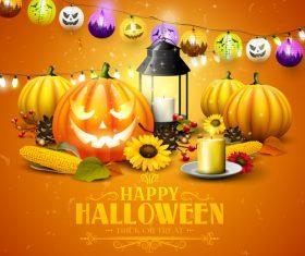 halloween traditional orange party flyer vector 01