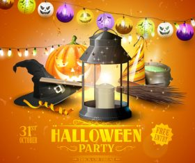 halloween traditional orange party flyer vector 03