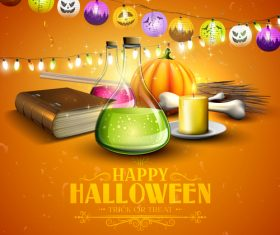 halloween traditional orange party flyer vector 04