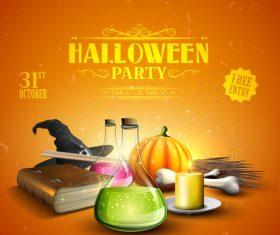 halloween traditional orange party flyer vector 05