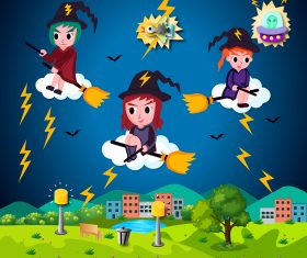 Vector Halloween Illustration Cute Cartoon Witches