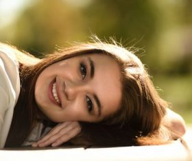 laugh happily girl Stock Photo