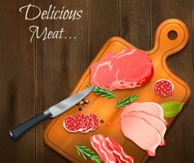 meat on wooden board vector illustration