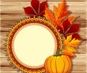 thanksgiving festvial card with wooden background vector