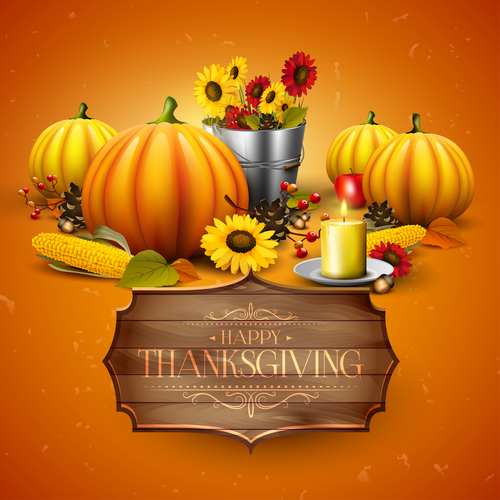 thanksgiving orange design with wooden sign vector 01