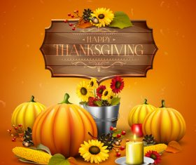 thanksgiving orange design with wooden sign vector 02