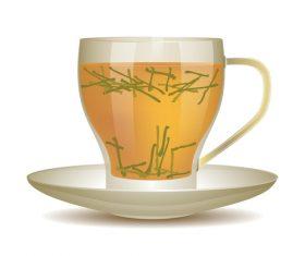 yellow tea with glass cup vector