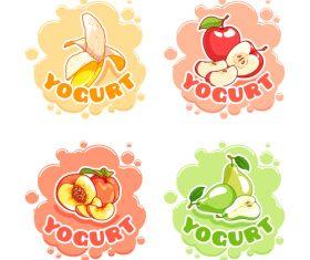 yogurt labels vectors