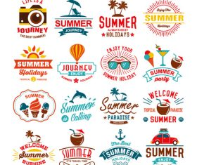 16 color summer vacation labels vector
