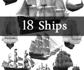 18 Kind Ships Photoshop Brushes