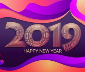 2019 Happy new year abstract colored background vector