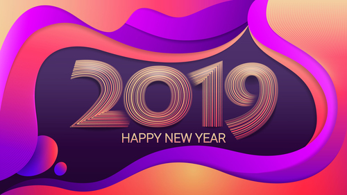 2019 Happy new year abstract colored background vector free