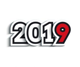 2019 New Year text sticker vectors