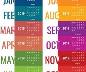 2019 calendar colored fashion design vector