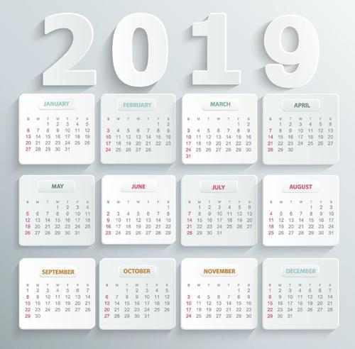 2019 calendar white paper card vector