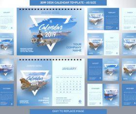 2019 desk calendar A5 size vector template 01