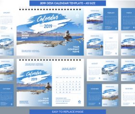 2019 desk calendar A5 size vector template 02