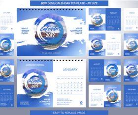 2019 desk calendar A5 size vector template 03