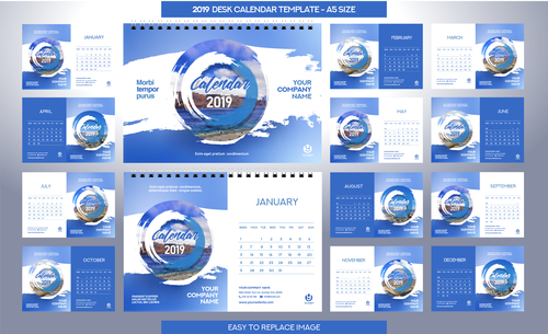 2019 Desk Calendar A5 Size Vector Template 03 Free Download