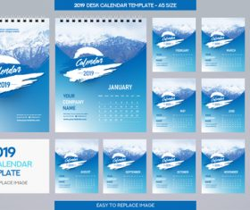 2019 desk calendar A5 size vector template 04