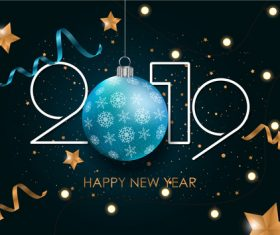 2019 new year background with christmas baubles vectors