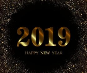 2019 new year background with golden stars light vector