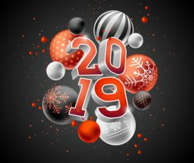 2019 new year black background with christams ball vector