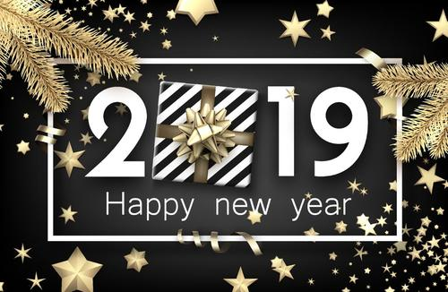 2019 new year with christmas black background vector