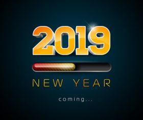 2019 new year design dark green background vector