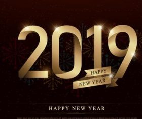 2019 new year design with golden ribbon and firework background vector