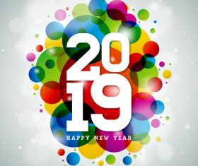 2019 new year design with modern abstract vector