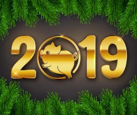 2019 new year golden text with pig and green frame vector