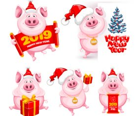 2019 new year of pig cute illustration vector 01