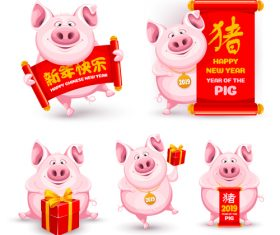 2019 new year of pig cute illustration vector 02