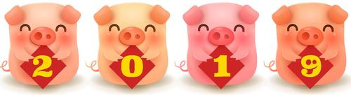 2019 new year of the pig vector design