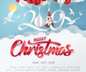2019 new year paper design with christmas card vector