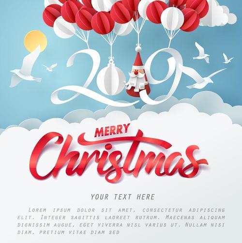 2019 New Year Paper Design With Christmas Card Vector Free