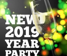 2019 new year party background with glass cup vector