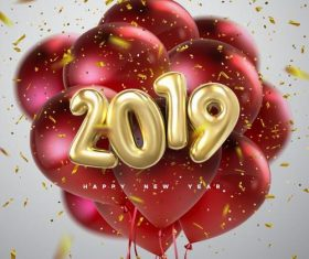 2019 new year red balloons with golden confetti vector