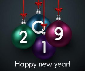 2019 new year text with decor ball vector