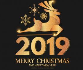 2019 new year with christmas dark background vector 03