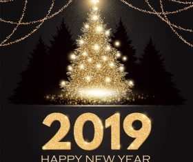 2019 new year with christmas dark background vector 04