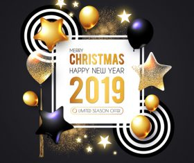 2019 new year with christmas dark background vector 05