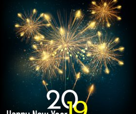 2019 new year with christmas dark background vector 06