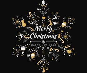 2019 new year with christmas dark background vector 09