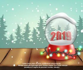 2019 new year with christmas elements vector